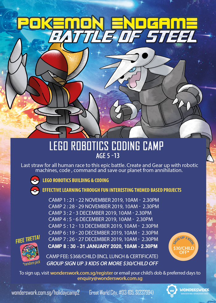 Pokemon Endgame Battle of Steel Lego Robotics Coding Technology Winter Camp School Holiday November to December 2019 for Age 5 to 13